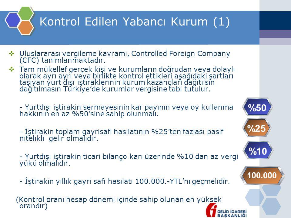 Kontrol Edilen Yabancı Kurum (1)  Uluslararası vergileme kavramı, Controlled Foreign Company (CFC) tanımlanmaktadır.  Tam mükellef gerçek kişi ve ku