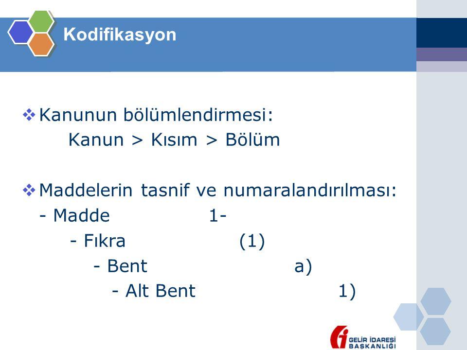 Kodifikasyon  Kanunun bölümlendirmesi: Kanun > Kısım > Bölüm  Maddelerin tasnif ve numaralandırılması: - Madde1- - Fıkra (1) - Bent a) - Alt Bent 1)