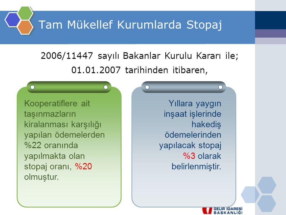 Tam Mükellef Kurumlarda Stopaj 2006/11447 sayılı Bakanlar Kurulu Kararı ile; 01.01.2007 tarihinden itibaren, Kooperatiflere ait taşınmazların kiralanm
