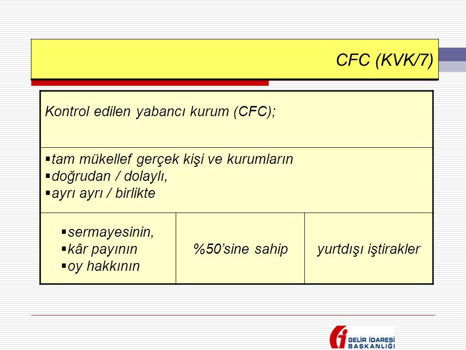CFC (KVK/7) Kontrol edilen yabancı kurum (CFC);  tam mükellef gerçek kişi ve kurumların  doğrudan / dolaylı,  ayrı ayrı / birlikte  sermayesinin,