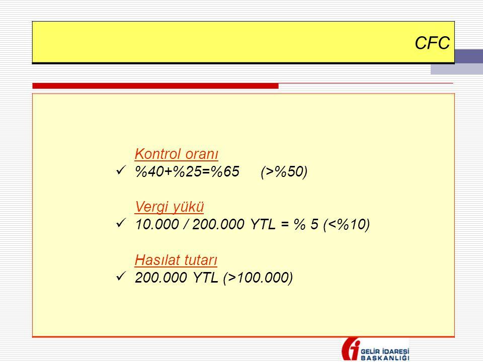 CFC Kontrol oranı  %40+%25=%65(>%50) Vergi yükü  10.000 / 200.000 YTL = % 5 (<%10) Hasılat tutarı  200.000 YTL (>100.000)