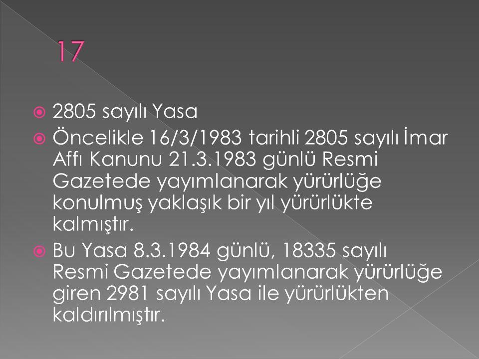  2805 sayılı Yasa  Öncelikle 16/3/1983 tarihli 2805 sayılı İmar Affı Kanunu 21.3.1983 günlü Resmi Gazetede yayımlanarak yürürlüğe konulmuş yaklaşık bir yıl yürürlükte kalmıştır.