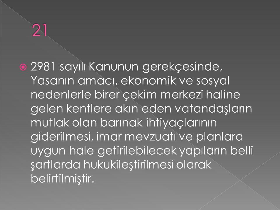  2981 sayılı Kanunun gerekçesinde, Yasanın amacı, ekonomik ve sosyal nedenlerle birer çekim merkezi haline gelen kentlere akın eden vatandaşların mut