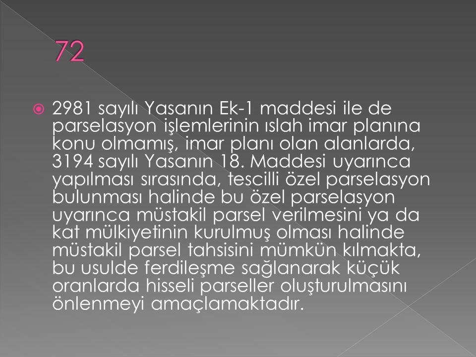  2981 sayılı Yasanın Ek-1 maddesi ile de parselasyon işlemlerinin ıslah imar planına konu olmamış, imar planı olan alanlarda, 3194 sayılı Yasanın 18.