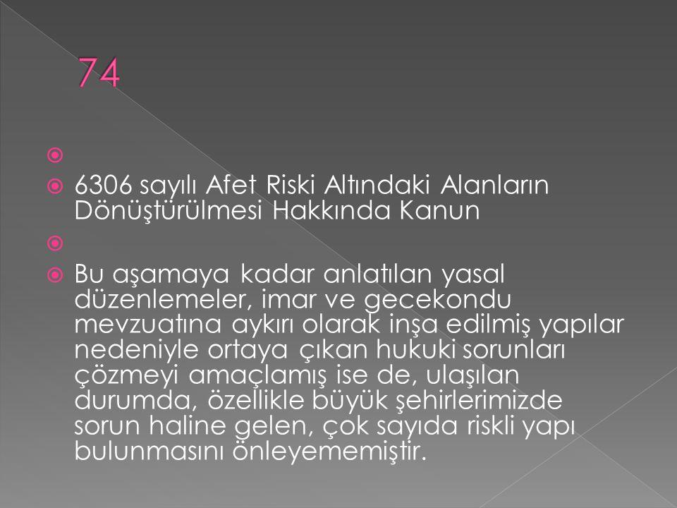   6306 sayılı Afet Riski Altındaki Alanların Dönüştürülmesi Hakkında Kanun   Bu aşamaya kadar anlatılan yasal düzenlemeler, imar ve gecekondu mevz