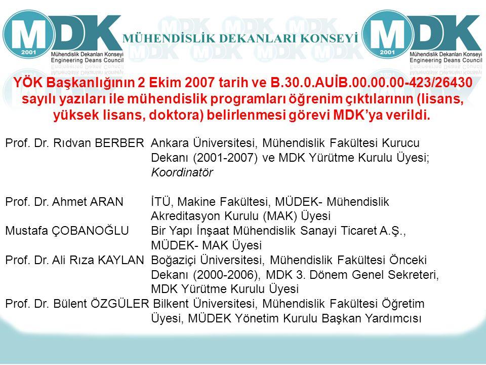 Prof. Dr. Rıdvan BERBER Ankara Üniversitesi, Mühendislik Fakültesi Kurucu Dekanı (2001-2007) ve MDK Yürütme Kurulu Üyesi; Koordinatör Prof. Dr. Ahmet
