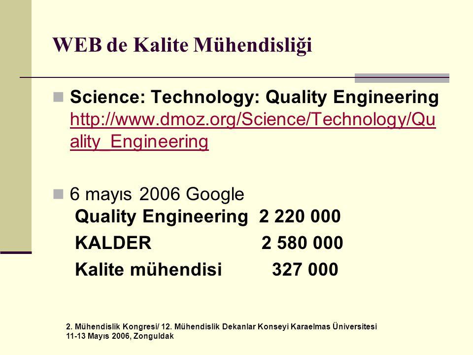 2. Mühendislik Kongresi/ 12. Mühendislik Dekanlar Konseyi Karaelmas Üniversitesi 11-13 Mayıs 2006, Zonguldak WEB de Kalite Mühendisliği  Science: Tec