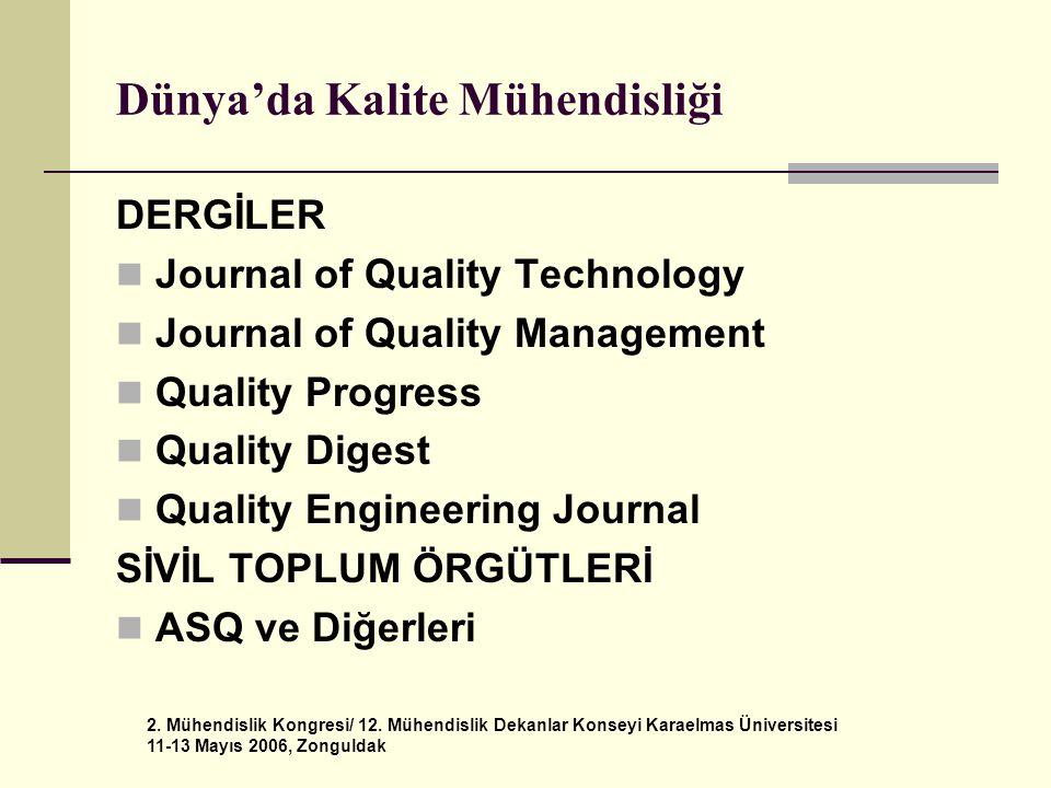 2. Mühendislik Kongresi/ 12. Mühendislik Dekanlar Konseyi Karaelmas Üniversitesi 11-13 Mayıs 2006, Zonguldak Dünya'da Kalite Mühendisliği DERGİLER  J