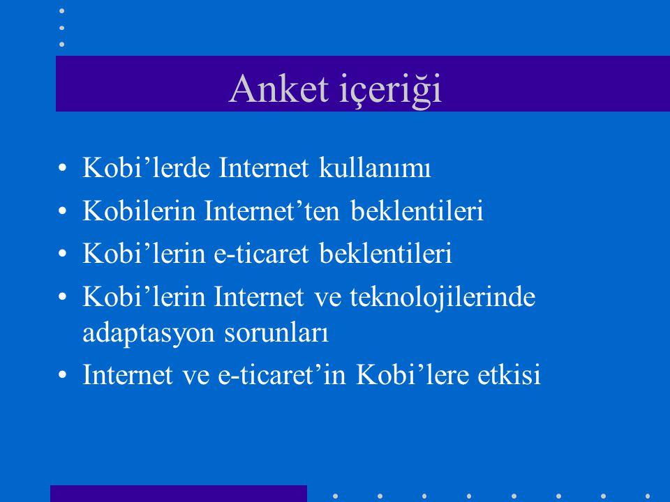 Anket içeriği •Kobi'lerde Internet kullanımı •Kobilerin Internet'ten beklentileri •Kobi'lerin e-ticaret beklentileri •Kobi'lerin Internet ve teknolojilerinde adaptasyon sorunları •Internet ve e-ticaret'in Kobi'lere etkisi