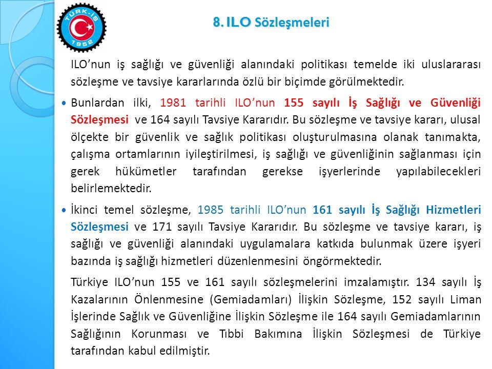 8. ILO Sözleşmeleri ILO'nun iş sağlığı ve güvenliği alanındaki politikası temelde iki uluslararası sözleşme ve tavsiye kararlarında özlü bir biçimde g