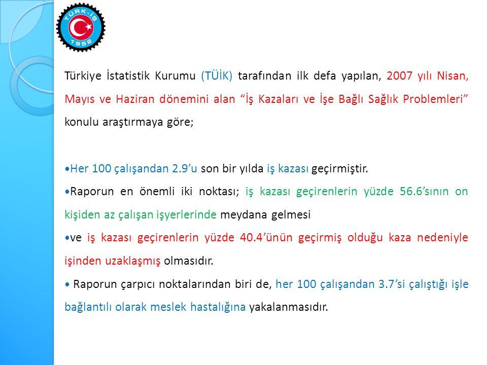 Türkiye İstatistik Kurumu (TÜİK) tarafından ilk defa yapılan, 2007 yılı Nisan, Mayıs ve Haziran dönemini alan İş Kazaları ve İşe Bağlı Sağlık Problemleri konulu araştırmaya göre;  Her 100 çalışandan 2.9'u son bir yılda iş kazası geçirmiştir.