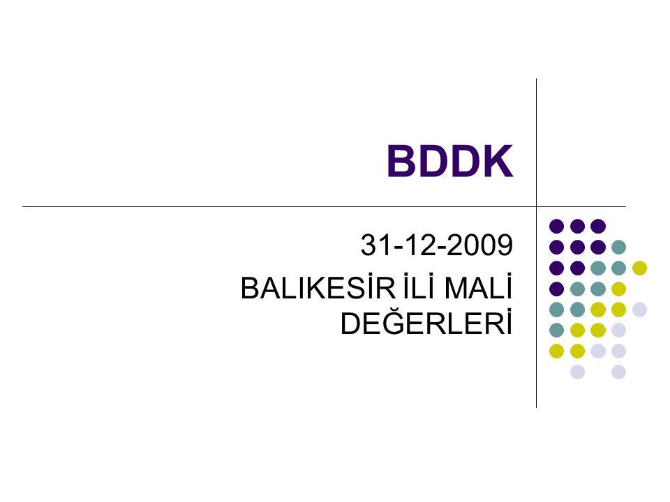 BDDK 31-12-2009 BALIKESİR İLİ MALİ DEĞERLERİ