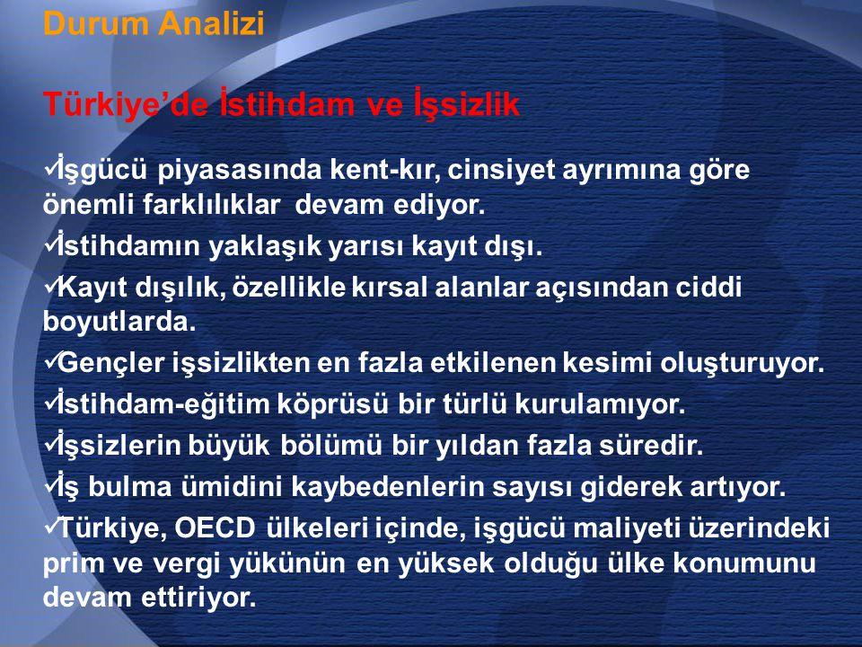 12 Durum Analizi Türkiye'de İstihdam ve İşsizlik  İşgücü piyasasında kent-kır, cinsiyet ayrımına göre önemli farklılıklar devam ediyor.