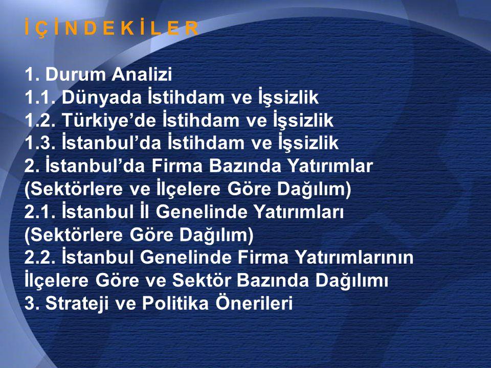 4 I. BÖLÜM DURUM ANALİZİ DÜNYADA TÜRKİYE'DE VE İSTANBUL'DA