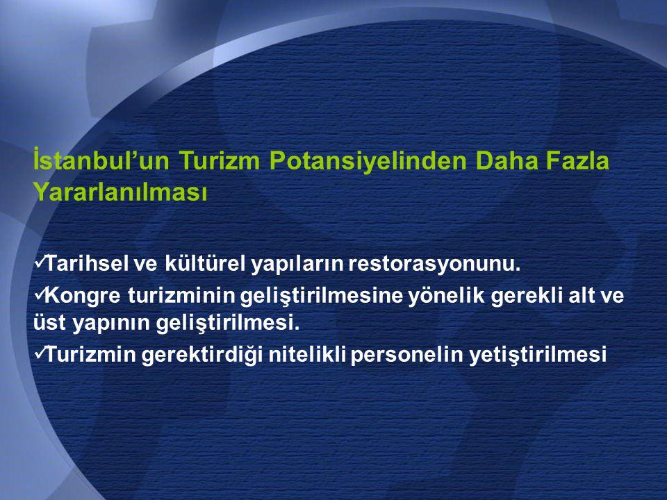 61 İstanbul'un Turizm Potansiyelinden Daha Fazla Yararlanılması  Tarihsel ve kültürel yapıların restorasyonunu.