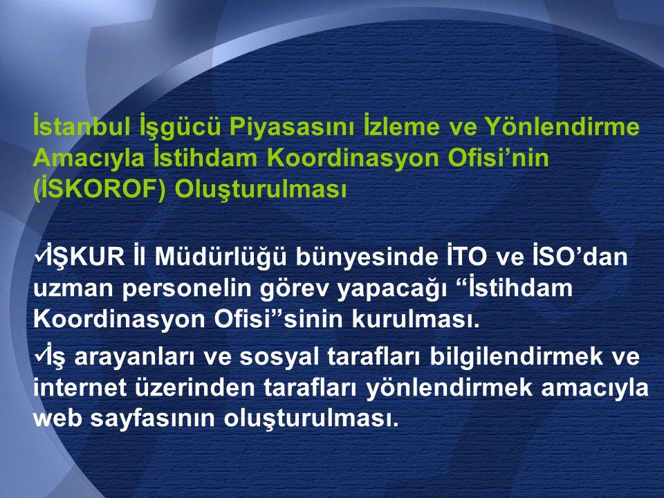 70 İstanbul İşgücü Piyasasını İzleme ve Yönlendirme Amacıyla İstihdam Koordinasyon Ofisi'nin (İSKOROF) Oluşturulması  İŞKUR İl Müdürlüğü bünyesinde İTO ve İSO'dan uzman personelin görev yapacağı İstihdam Koordinasyon Ofisi sinin kurulması.
