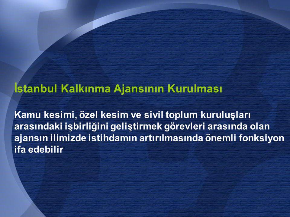71 İstanbul Kalkınma Ajansının Kurulması Kamu kesimi, özel kesim ve sivil toplum kuruluşları arasındaki işbirliğini geliştirmek görevleri arasında olan ajansın ilimizde istihdamın artırılmasında önemli fonksiyon ifa edebilir