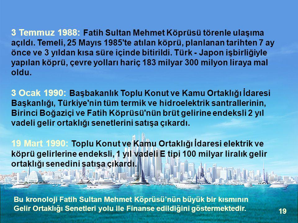 19 3 Temmuz 1988: Fatih Sultan Mehmet Köprüsü törenle ulaşıma açıldı. Temeli, 25 Mayıs 1985'te atılan köprü, planlanan tarihten 7 ay önce ve 3 yıldan