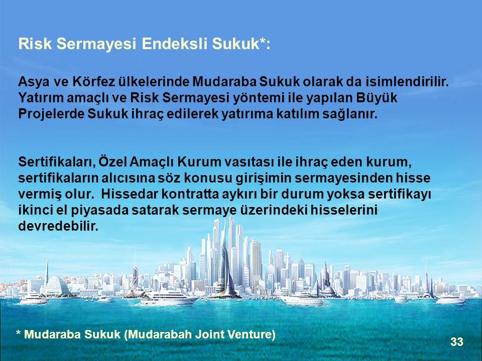 33 Risk Sermayesi Endeksli Sukuk*: Asya ve Körfez ülkelerinde Mudaraba Sukuk olarak da isimlendirilir.
