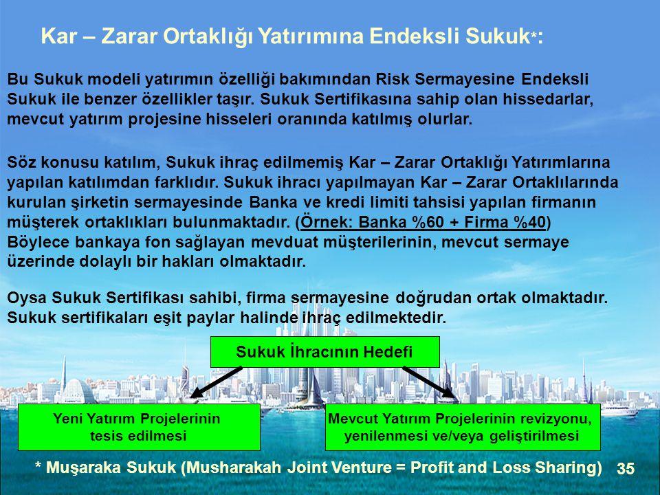 35 Kar – Zarar Ortaklığı Yatırımına Endeksli Sukuk * : Bu Sukuk modeli yatırımın özelliği bakımından Risk Sermayesine Endeksli Sukuk ile benzer özellikler taşır.