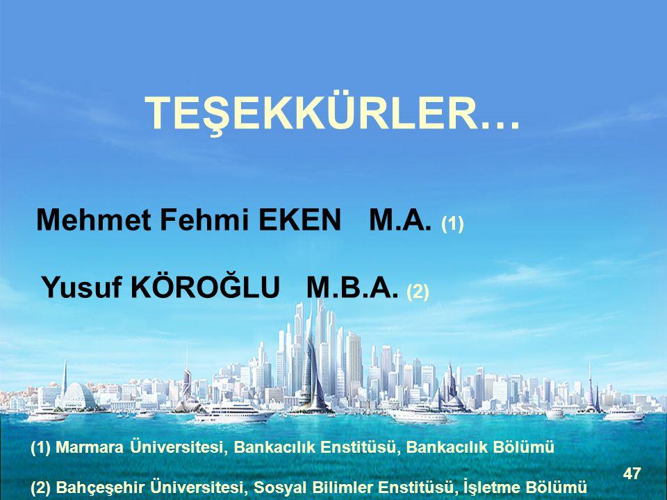 47 TEŞEKKÜRLER… Mehmet Fehmi EKEN M.A. (1) Yusuf KÖROĞLU M.B.A. (2) (1) Marmara Üniversitesi, Bankacılık Enstitüsü, Bankacılık Bölümü (2) Bahçeşehir Ü