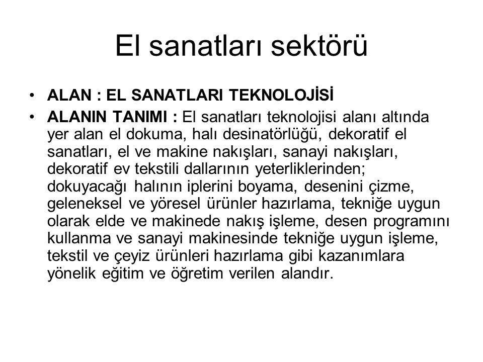 El sanatları sektörü •ALAN : EL SANATLARI TEKNOLOJİSİ •ALANIN TANIMI : El sanatları teknolojisi alanı altında yer alan el dokuma, halı desinatörlüğü,
