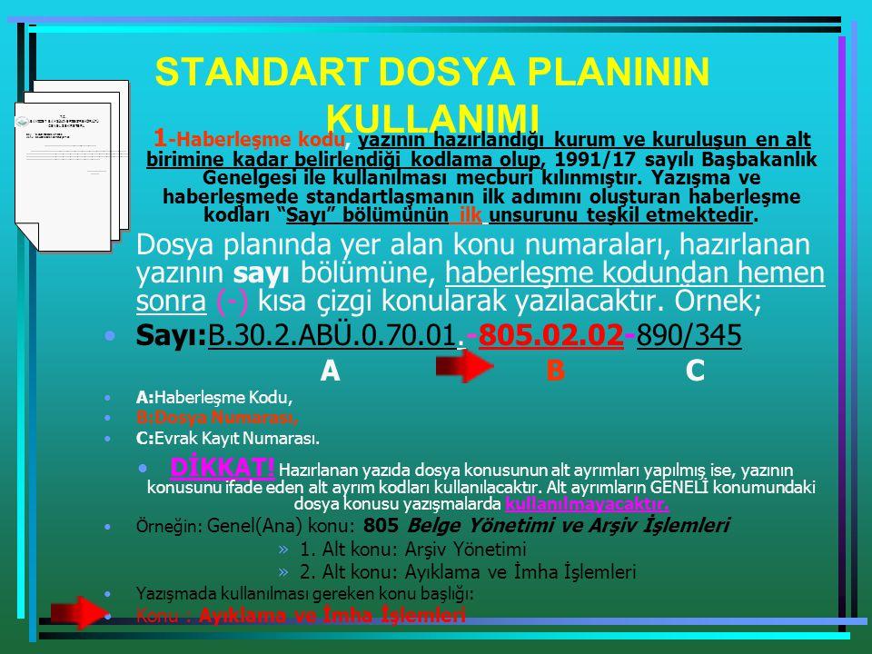 STANDART DOSYA PLANININ KULLANIMI •1 -Haberleşme kodu, yazının hazırlandığı kurum ve kuruluşun en alt birimine kadar belirlendiği kodlama olup, 1991/1