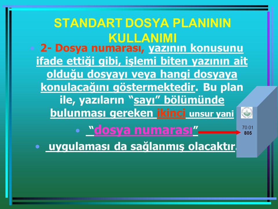 STANDART DOSYA PLANININ KULLANIMI •2- Dosya numarası, yazının konusunu ifade ettiği gibi, işlemi biten yazının ait olduğu dosyayı veya hangi dosyaya k
