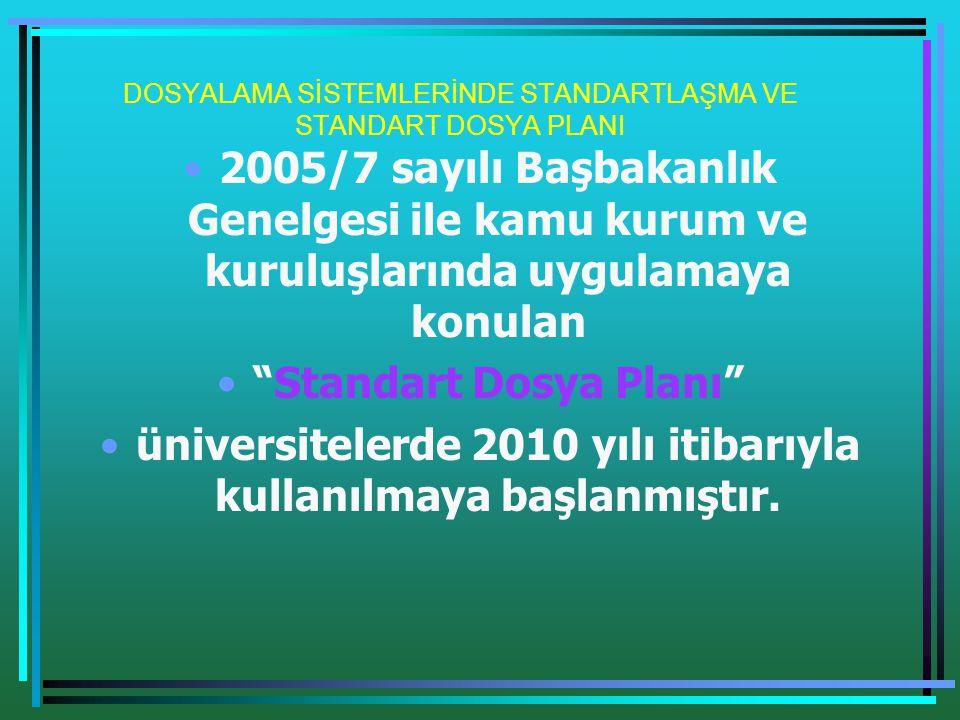 DOSYALAMA SİSTEMLERİNDE STANDARTLAŞMA VE STANDART DOSYA PLANI •2005/7 sayılı Başbakanlık Genelgesi ile kamu kurum ve kuruluşlarında uygulamaya konulan