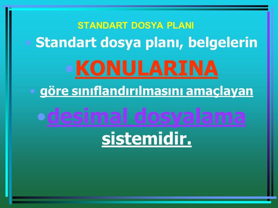 STANDART DOSYA PLANI •Standart dosya planı, belgelerin •KONULARINA •göre sınıflandırılmasını amaçlayan •desimal dosyalama sistemidir.