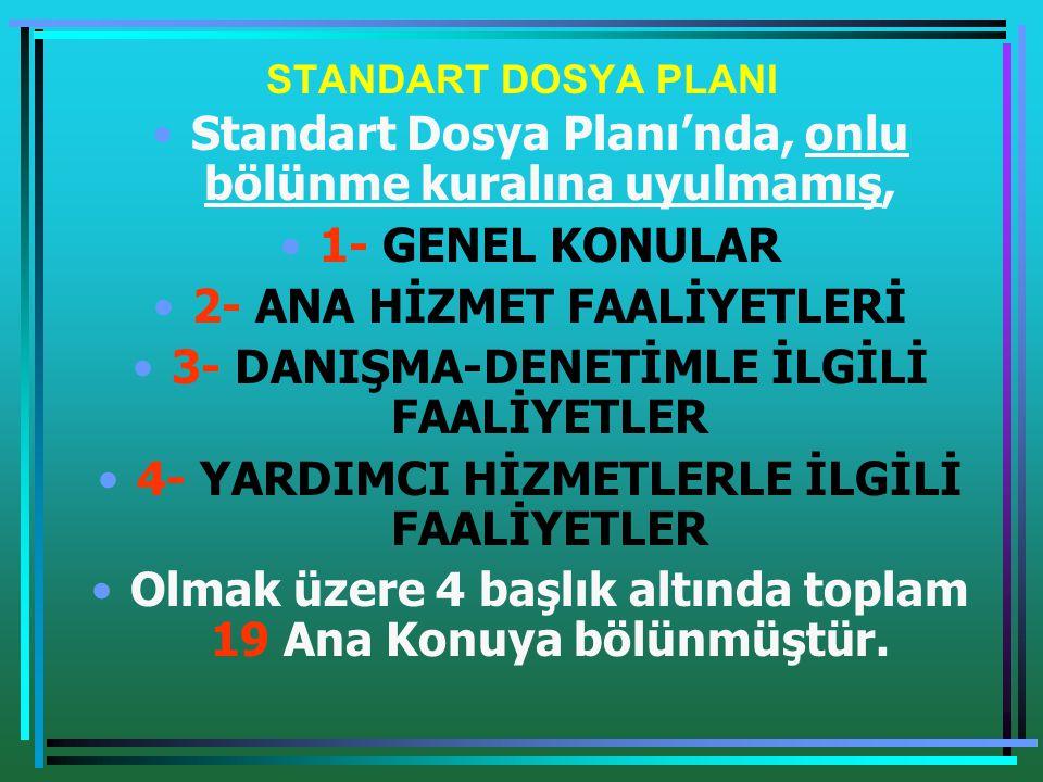 STANDART DOSYA PLANININ KULLANIMI •2- Dosya numarası, yazının konusunu ifade ettiği gibi, işlemi biten yazının ait olduğu dosyayı veya hangi dosyaya konulacağını göstermektedir.