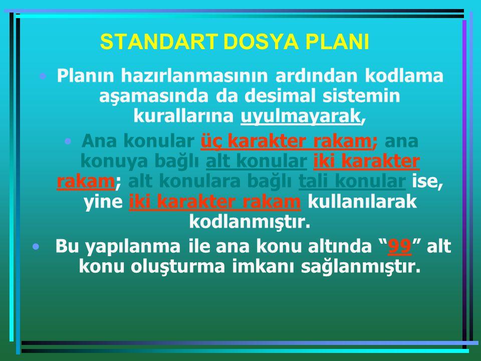 STANDART DOSYA PLANI •Planın hazırlanmasının ardından kodlama aşamasında da desimal sistemin kurallarına uyulmayarak, •Ana konular üç karakter rakam;