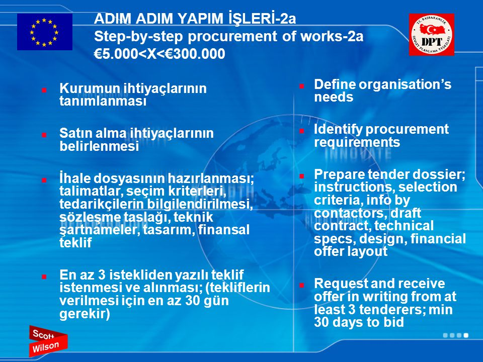 ADIM ADIM YAPIM İŞLERİ-2a Step-by-step procurement of works-2a €5.000<X<€300.000  Kurumun ihtiyaçlarının tanımlanması  Satın alma ihtiyaçlarının belirlenmesi  İhale dosyasının hazırlanması; talimatlar, seçim kriterleri, tedarikçilerin bilgilendirilmesi, sözleşme taslağı, teknik şartnameler, tasarım, finansal teklif  En az 3 istekliden yazılı teklif istenmesi ve alınması; (tekliflerin verilmesi için en az 30 gün gerekir)  Define organisation's needs  Identify procurement requirements  Prepare tender dossier; instructions, selection criteria, info by contactors, draft contract, technical specs, design, financial offer layout  Request and receive offer in writing from at least 3 tenderers; min 30 days to bid