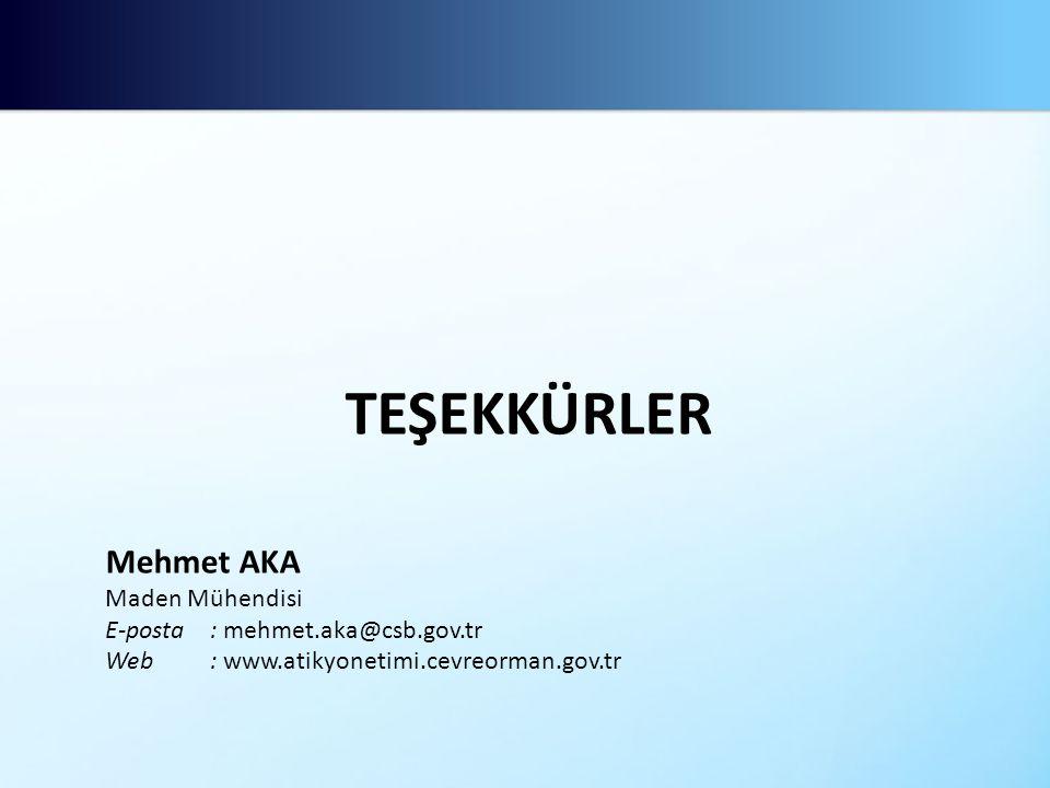 TEŞEKKÜRLER Mehmet AKA Maden Mühendisi E-posta: mehmet.aka@csb.gov.tr Web: www.atikyonetimi.cevreorman.gov.tr