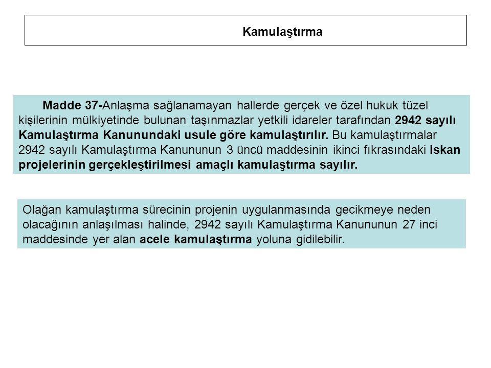 Madde 37-Anlaşma sağlanamayan hallerde gerçek ve özel hukuk tüzel kişilerinin mülkiyetinde bulunan taşınmazlar yetkili idareler tarafından 2942 sayılı