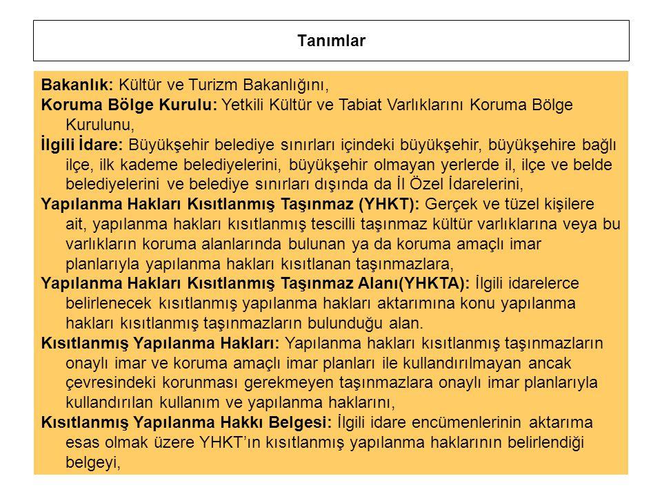 Tanımlar Bakanlık: Kültür ve Turizm Bakanlığını, Koruma Bölge Kurulu: Yetkili Kültür ve Tabiat Varlıklarını Koruma Bölge Kurulunu, İlgili İdare: Büyük