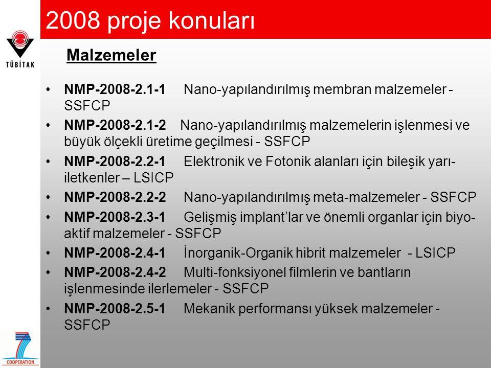 2008 proje konuları •NMP-2008-2.1-1 Nano-yapılandırılmış membran malzemeler - SSFCP •NMP-2008-2.1-2 Nano-yapılandırılmış malzemelerin işlenmesi ve büy