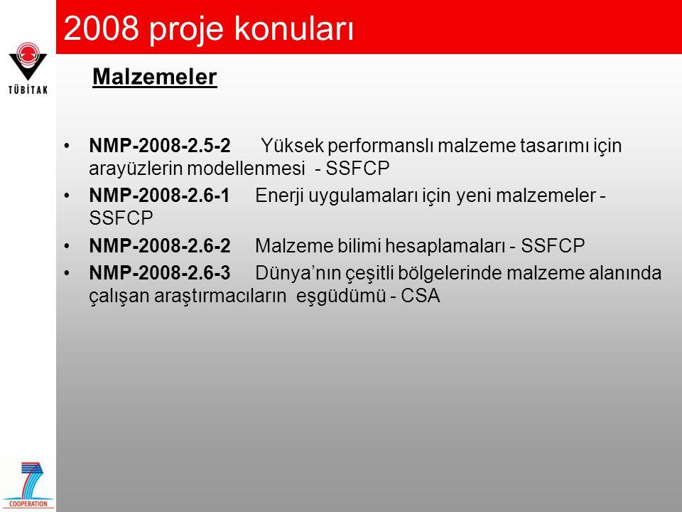 2008 proje konuları •NMP-2008-2.5-2 Yüksek performanslı malzeme tasarımı için arayüzlerin modellenmesi - SSFCP •NMP-2008-2.6-1 Enerji uygulamaları içi