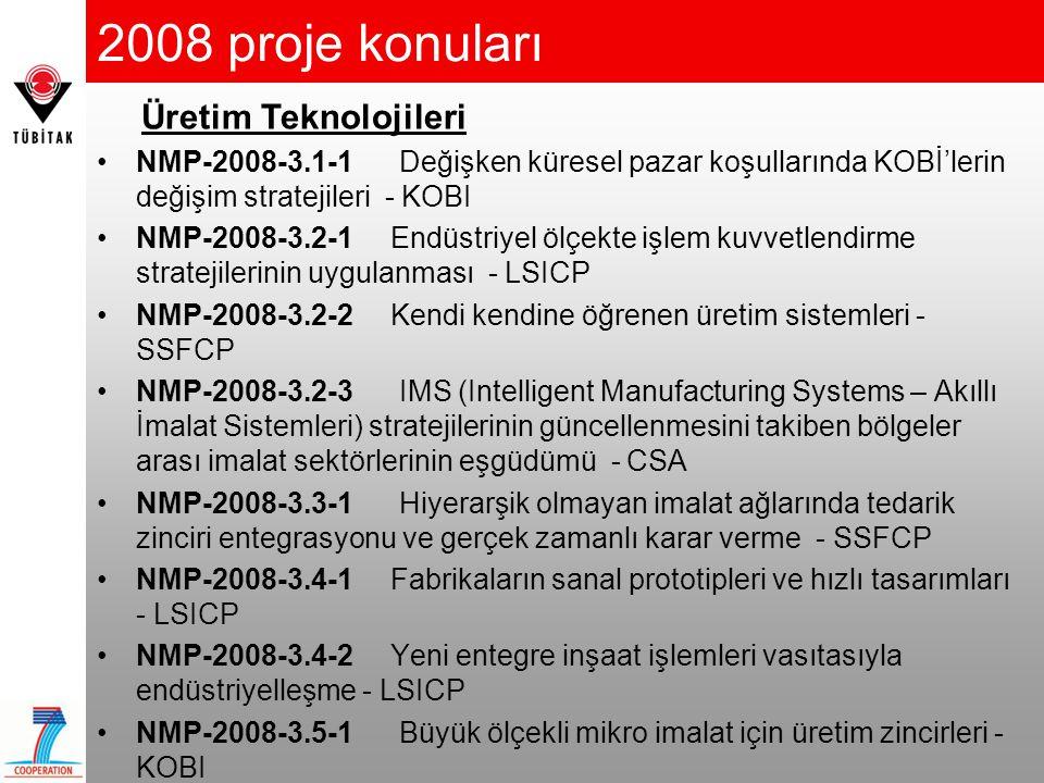 2008 proje konuları •NMP-2008-3.1-1 Değişken küresel pazar koşullarında KOBİ'lerin değişim stratejileri - KOBI •NMP-2008-3.2-1 Endüstriyel ölçekte işl