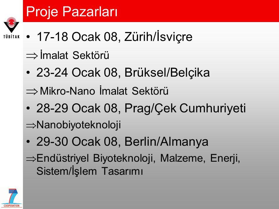 Proje Pazarları •17-18 Ocak 08, Zürih/İsviçre  İmalat Sektörü •23-24 Ocak 08, Brüksel/Belçika  Mikro-Nano İmalat Sektörü •28-29 Ocak 08, Prag/Çek Cu