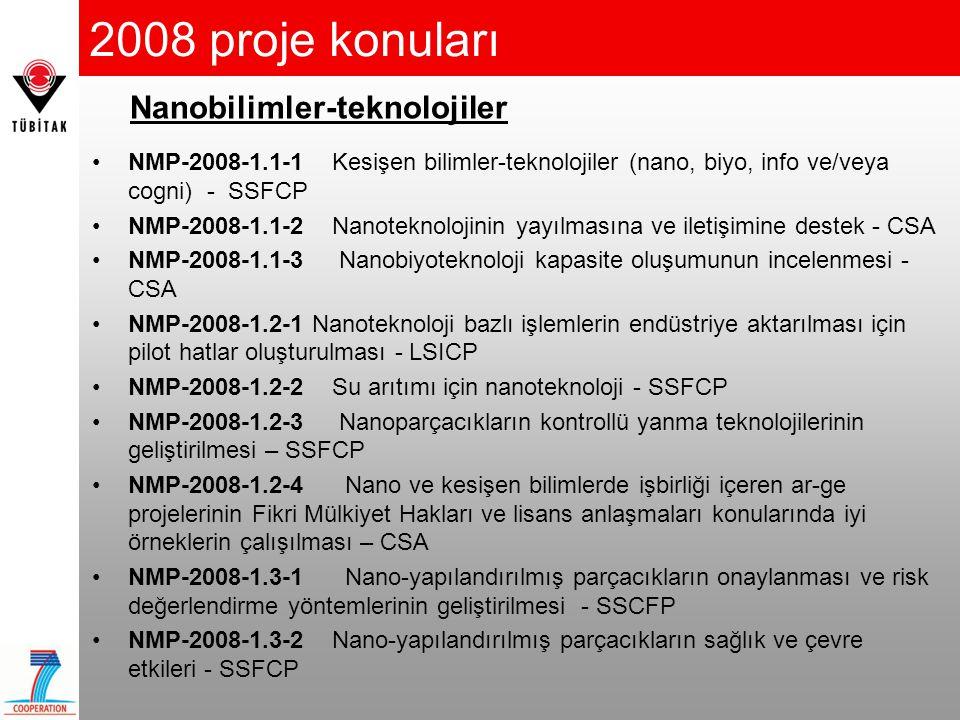2008 proje konuları •NMP-2008-2.1-1 Nano-yapılandırılmış membran malzemeler - SSFCP •NMP-2008-2.1-2 Nano-yapılandırılmış malzemelerin işlenmesi ve büyük ölçekli üretime geçilmesi - SSFCP •NMP-2008-2.2-1 Elektronik ve Fotonik alanları için bileşik yarı- iletkenler – LSICP •NMP-2008-2.2-2 Nano-yapılandırılmış meta-malzemeler - SSFCP •NMP-2008-2.3-1 Gelişmiş implant'lar ve önemli organlar için biyo- aktif malzemeler - SSFCP •NMP-2008-2.4-1 İnorganik-Organik hibrit malzemeler - LSICP •NMP-2008-2.4-2 Multi-fonksiyonel filmlerin ve bantların işlenmesinde ilerlemeler - SSFCP •NMP-2008-2.5-1 Mekanik performansı yüksek malzemeler - SSFCP Malzemeler