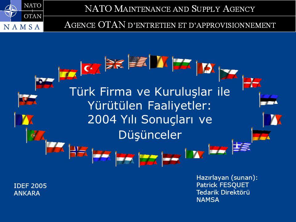 Türk Firma ve Kuruluşlar ile Yürütülen Faaliyetler: 2004 Yılı Sonuçları ve Düşünceler Hazırlayan (sunan): Patrick FESQUET Tedarik Direktörü NAMSA IDEF 2005 ANKARA