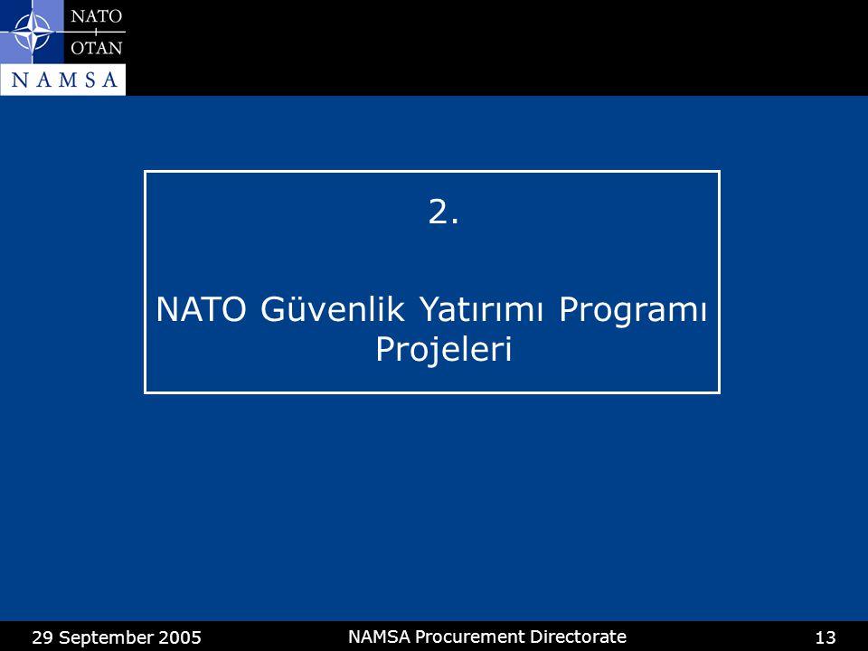 29 September 2005 NAMSA Procurement Directorate 13 2. NATO Güvenlik Yatırımı Programı Projeleri