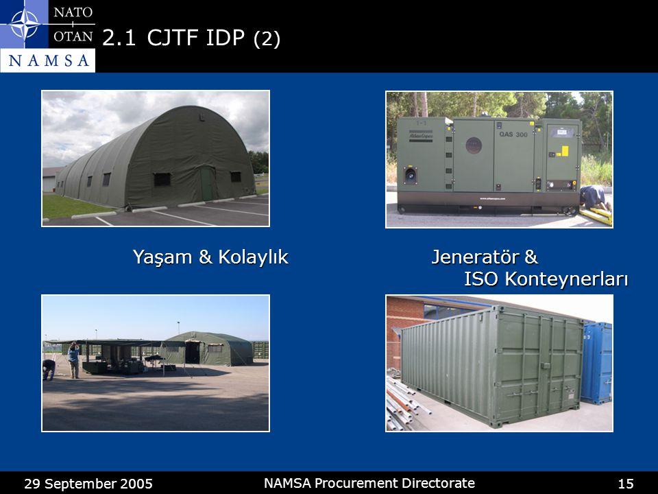 29 September 2005 NAMSA Procurement Directorate 15 2.1CJTF IDP (2) Yaşam & Kolaylık Jeneratör & ISO Konteynerları ISO Konteynerları