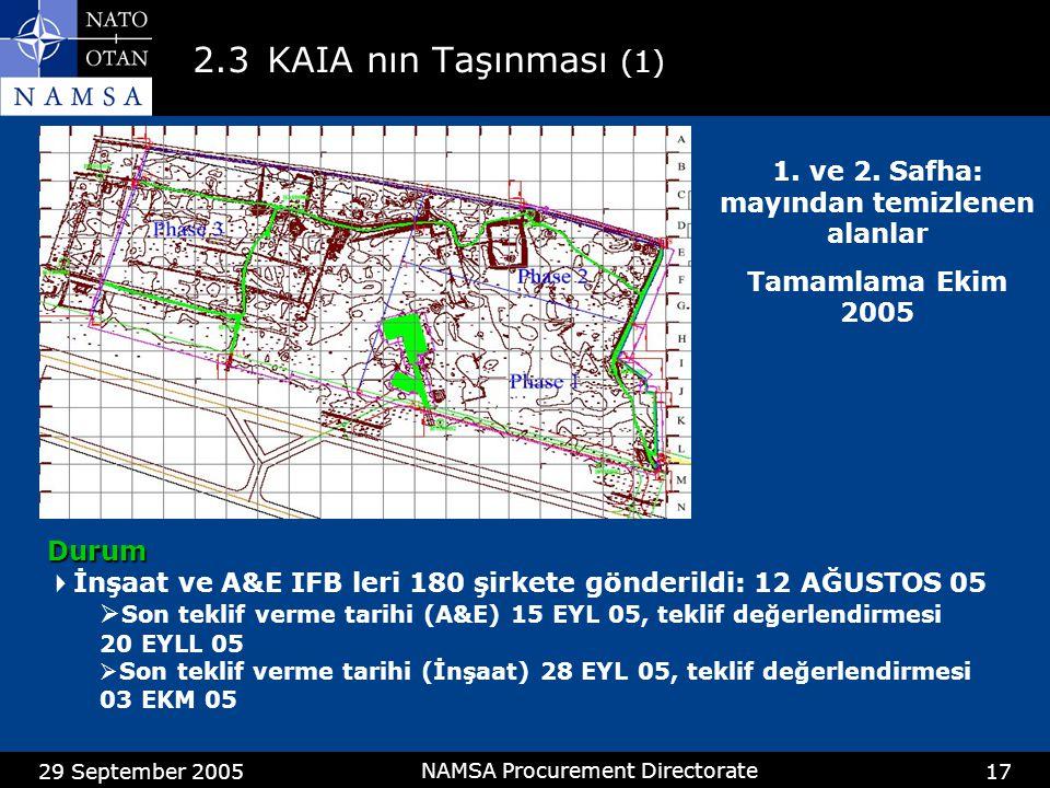 29 September 2005 NAMSA Procurement Directorate 17 2.3KAIA nın Taşınması (1) 1. ve 2. Safha: mayından temizlenen alanlar Tamamlama Ekim 2005 Durum  İ