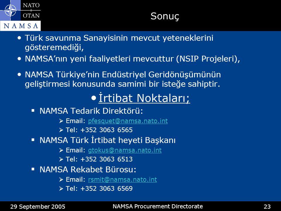 29 September 2005 NAMSA Procurement Directorate 23 Sonuç • Türk savunma Sanayisinin mevcut yeteneklerini gösteremediği, • NAMSA'nın yeni faaliyetleri mevcuttur (NSIP Projeleri), • NAMSA Türkiye'nin Endüstriyel Geridönüşümünün geliştirmesi konusunda samimi bir isteğe sahiptir.