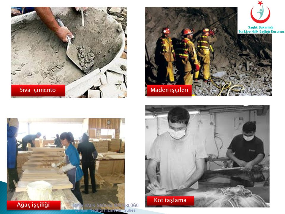 Sıva-çimento Maden işçileri Kot taşlama Ağaç işçiliği İZMİR HALK SAĞLIĞI MÜDÜRLÜĞÜ Çalışan Sağlığı Hizmetleri Şubesi