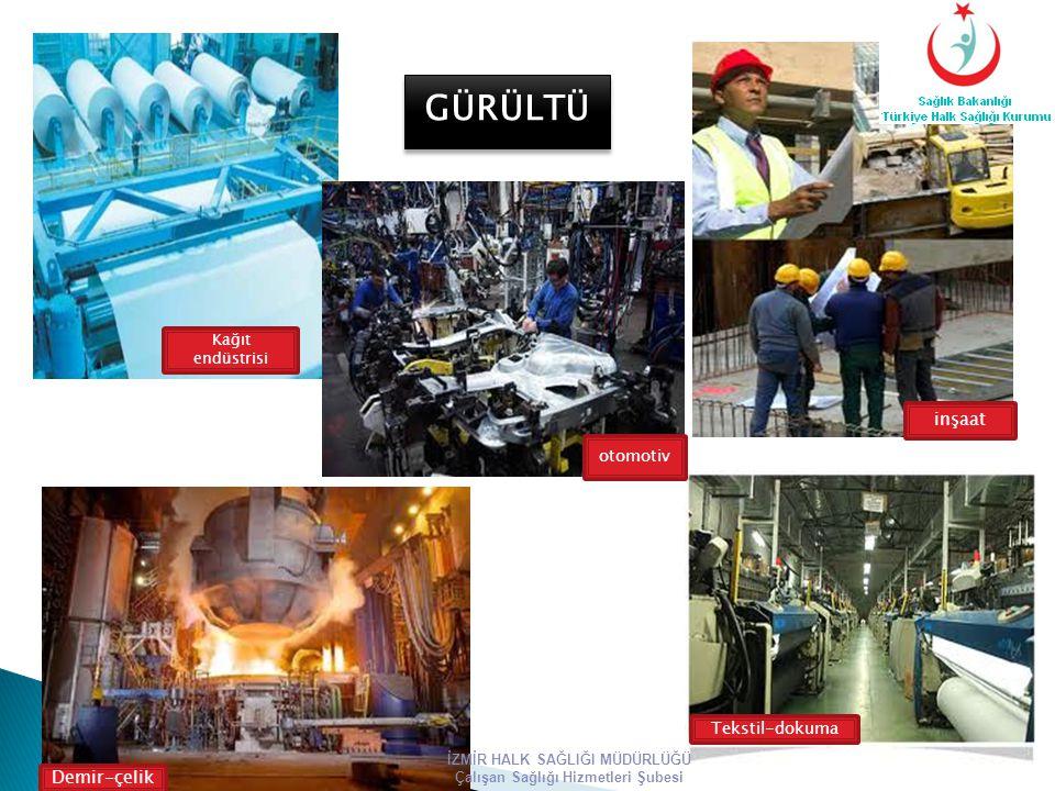 Kağıt endüstrisi otomotiv inşaat Tekstil-dokuma Demir-çelik GÜRÜLTÜ İZMİR HALK SAĞLIĞI MÜDÜRLÜĞÜ Çalışan Sağlığı Hizmetleri Şubesi