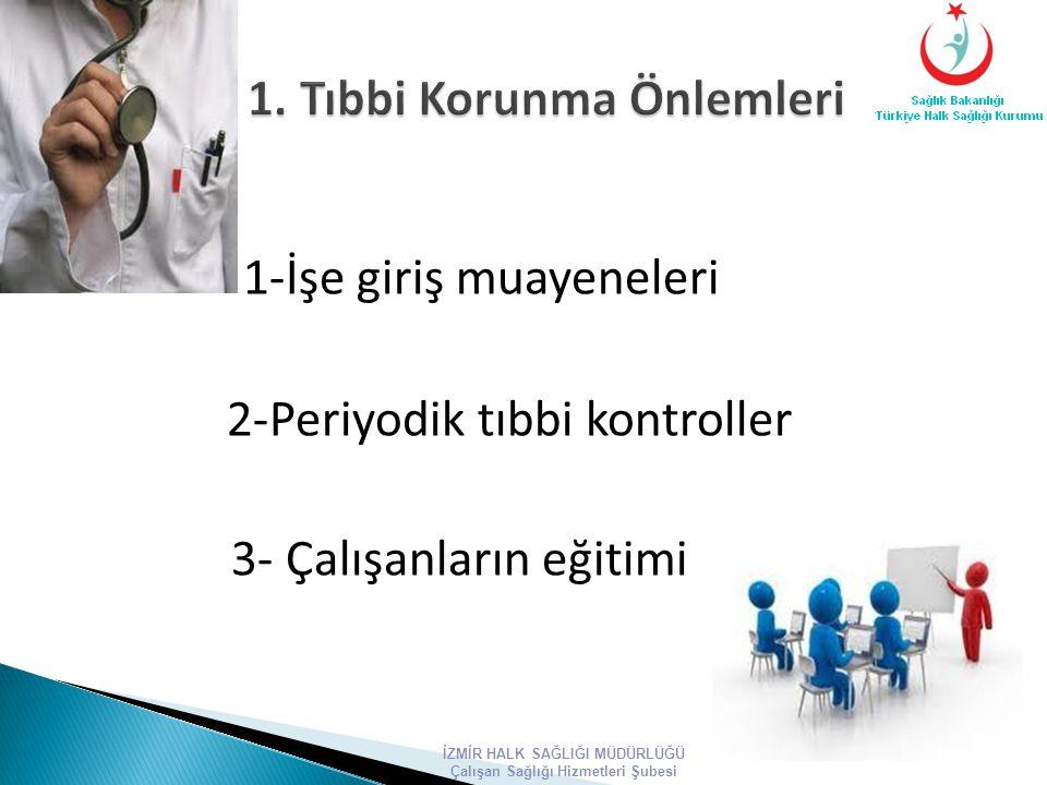 1-İşe giriş muayeneleri 2-Periyodik tıbbi kontroller 3- Çalışanların eğitimi İZMİR HALK SAĞLIĞI MÜDÜRLÜĞÜ Çalışan Sağlığı Hizmetleri Şubesi