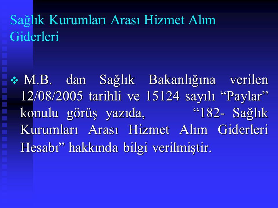 Döner Sermaye Saymanlıklarının Banka Hesapları  M.B. 29/12/2004 tarihli ve 25946 sayılı genel yazı ile Döner Sermaye Saymanlıklarının Banka Hesapları